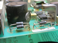 A detail of Herbert's original M20 power supply, with the blown NTC resistor
